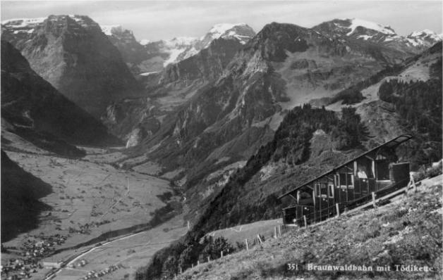 Braunwaldbahn mit Toedikette vor 1935