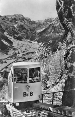 Braunwaldbahn vor Tunneleinfahrt vor 1964